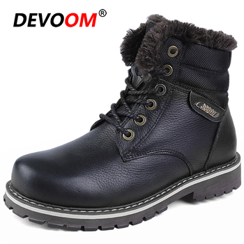 Men Hiking Shoes Winter Hunting doc martins Boots Men's Snow plush Boots High Quality leather Casual Climbing Boots Fur Big Size