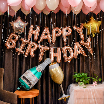 1 set Happy Birthday Letters Rose Gold Foil Balloons For Wedding Birthday Party Banners