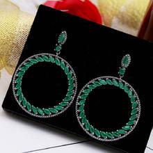 Серьги с цирконием bilincolor green большие корейские серьги