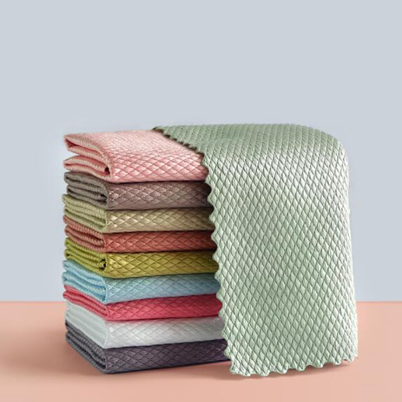 5Pcs Kitchen Anti-Grease Wiping Rags Efficient Fish Scale Wipe Cloth Cleaning Cloth Home Washing Dish Cleaning Towel