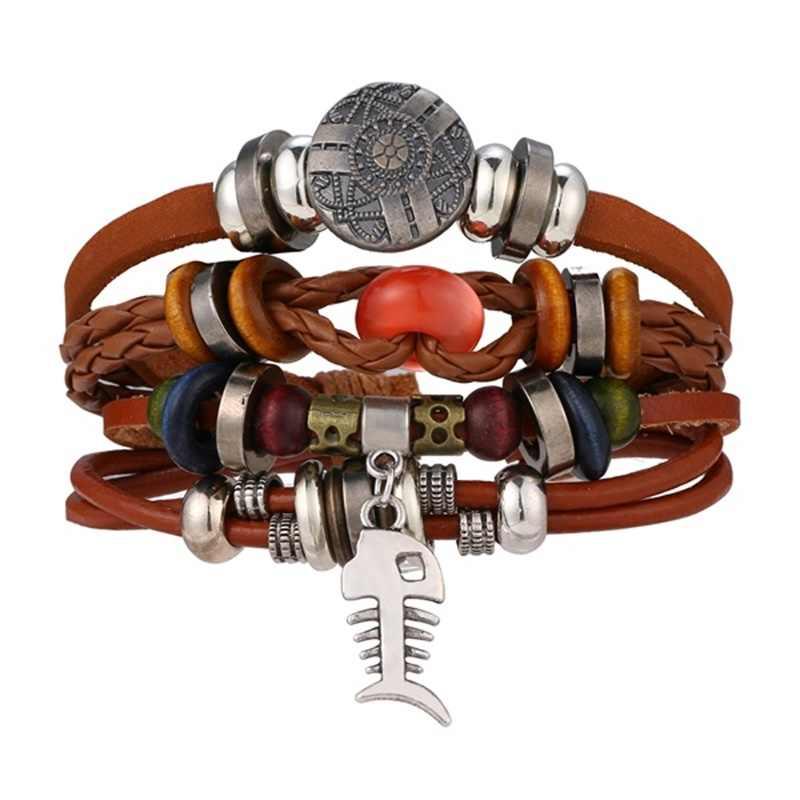 IFMIA חדש בציר כנף עור צמיד לגברים אישה אופנה שחור צבע מרובה קלוע צמידי תכשיטי מתנה סיטונאי