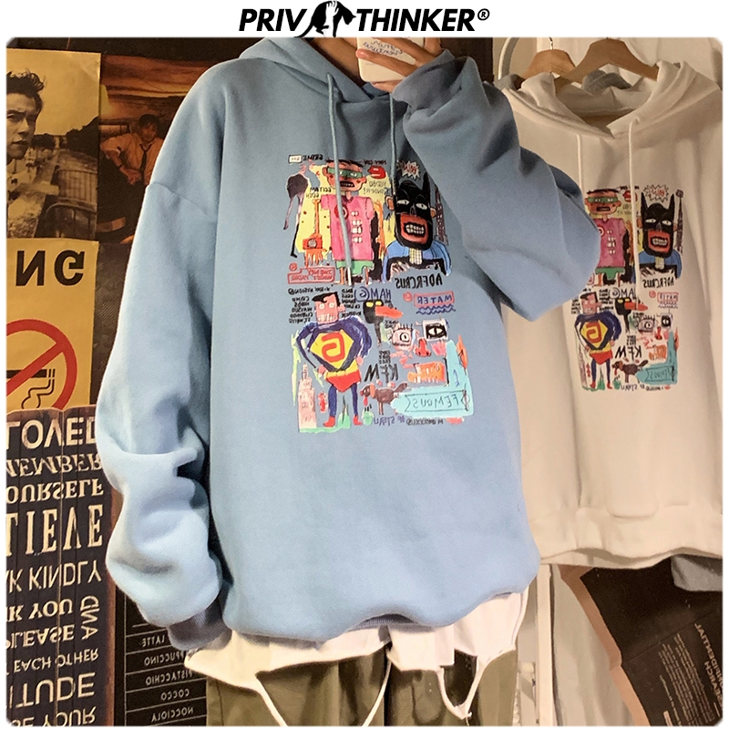 Privathinker Men's Casual Streetwear Printed Hooded Sweatshirts Men 2019 3 Colors Hip Hop Hoodies Male Fashion Pullover Clothes