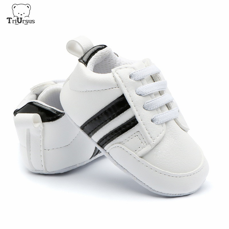 2019 PU Leather Baby Sports Shoes Newborn Baby Boys Girls Sneakers Stripe Pattern Attipas Soft Anti-slip Baby Shoes Moccasins