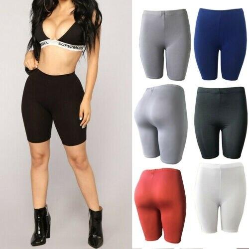 Women Girl Skinny Pants Running Fitness High Elastic Waist Short Pants Workout Beach Casual Knee Length Capris S-XL