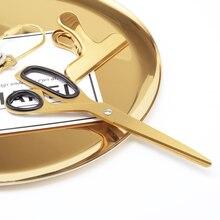 Golden Stainless Steel School Scissors Asymmetric Minimalist Design Office Household craft scissors