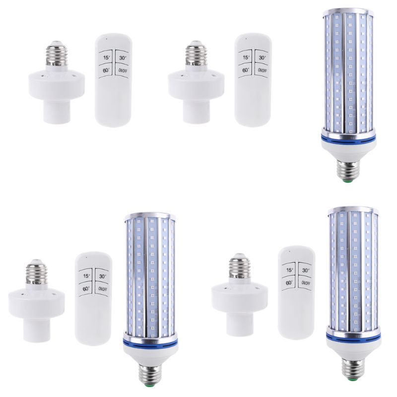 60W <font><b>UV</b></font> Germicidal light LED UVC Light <font><b>Bulb</b></font> Room <font><b>E27</b></font> E26 Lamp 110V 220V 86-265V w/ Timing & Remote Control & Lamp Holder image