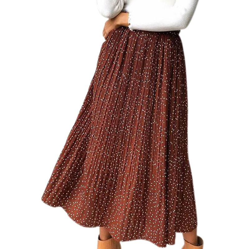 Womens High Waist Polka Dot Floral Printed Pleated A-Line Swing Ruffles Midi Skirt With Pockets Casual Party Vintage Streetwear