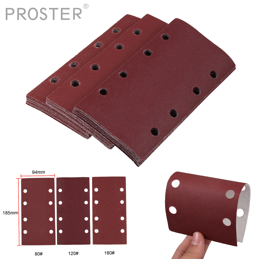Proster 30pcs For 1/3 Punched Sanding Sheets 93 X 190mm Sandpaper Pads Sander Hook And Loop Mix Grit 80/120/180/