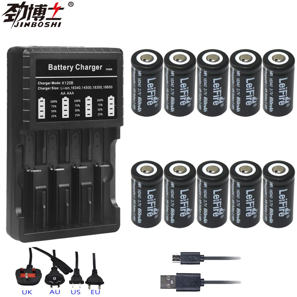 10pcs 16340 CR123A 650mah Rechargeable <font><b>Li</b></font>-<font><b>ion</b></font> Battery 3.7V 16340 cr123 Batteries + 1pc <font><b>14500</b></font> 16340 18650 Bateria Charger image