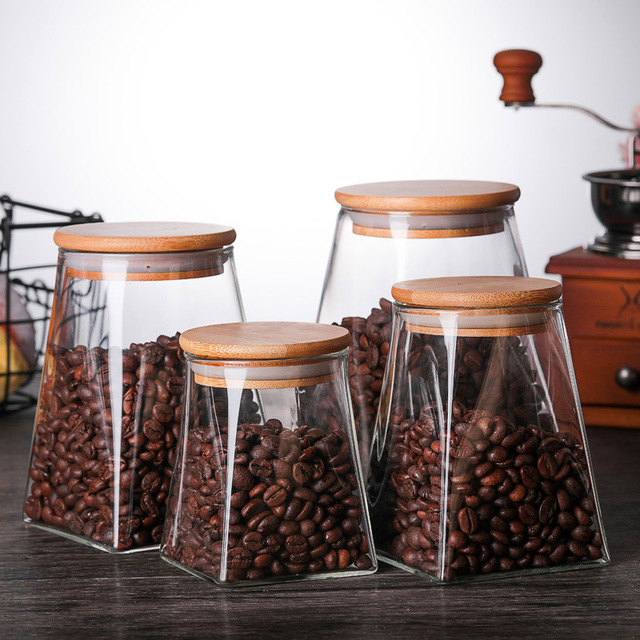 350ml/500ml/750ml/950ml Coffee Jar Tea Jar  sugar jar  glass container  candy jar Storage Container Kitchen Container Cover 1