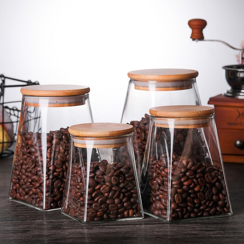 350ml/500ml/750ml/950ml Coffee Jar Tea Jar  Sugar Jar  Glass Container  Candy Jar Storage Container Kitchen Container Cover