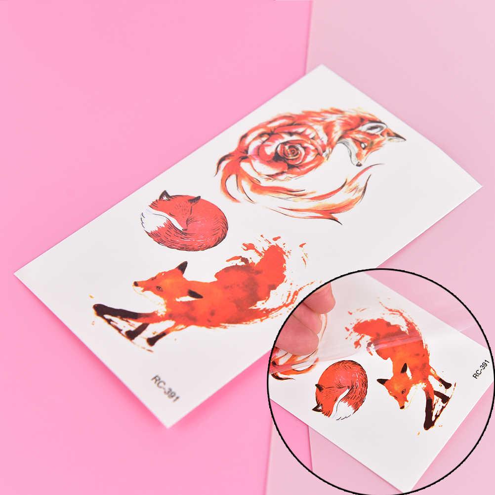 1 Copriletto della Volpe di Modo Autoadesivo Del Tatuaggio Temporaneo per Le Donne Uomini Body Art Adulti Impermeabile A Mano Falso Tatoo