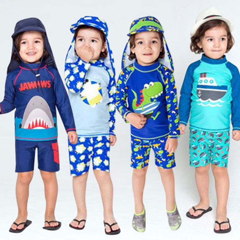 Kids Baby Boys 3D Cartoon Shark Hooded Two-Piece Rash Guard Swimsuit Sun Product Surfing Sporty Swimwear