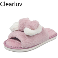 Winter warm indoor slippers thick bottom comfortable women's shoes zapatillas casa Couple Bow plush slipper slippers hausschuhe