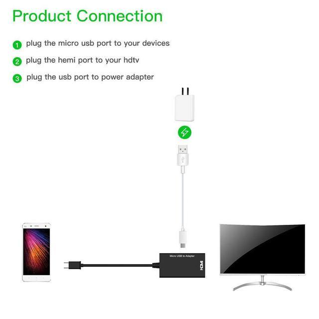 Tipo C y Micro USB a HDMI 1080P HD Cable de Audio y Video para HDTV convertidor adaptadores para TV PC teléfono portátil Tablet