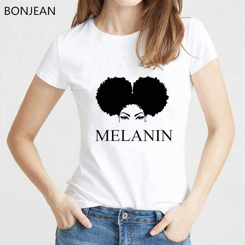 تيشرت نسائي من Melanin Poppin' تي شيرت نسائي harajuku Melanin بوبين فوج أسود مطبوع تي شيرت ملابس صيفية