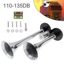 Купить с кэшбэком 12V/24V 110-135dB Super Loud Dual Tone Trumpet Auto Car Air Horn Set Car Auto Loudspeaker for Boat Train Car Vehicle Auto