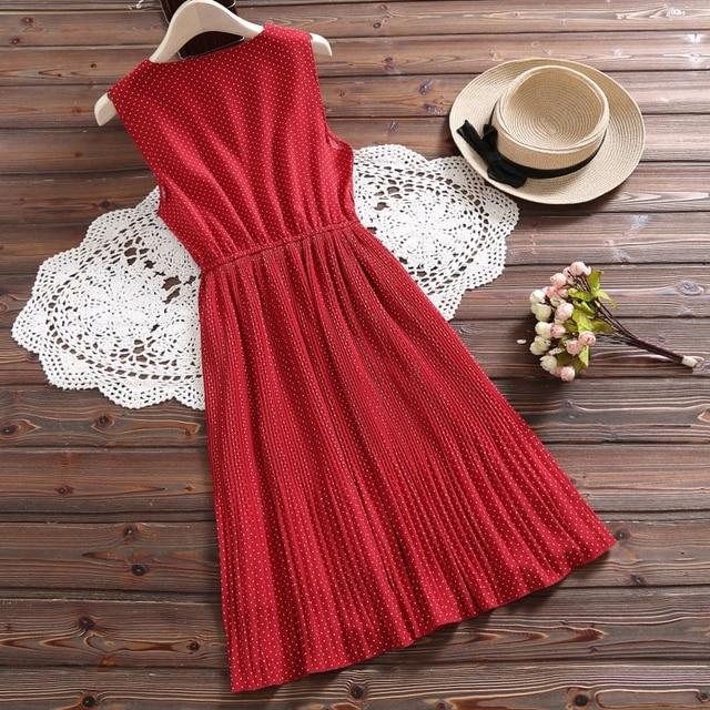 Korean Style Summer Women Chic Sundress White Red Polka Dot Sleeveless Ruffles Dress Elegant Sweet Chiffon Kawaii Pleated Dress