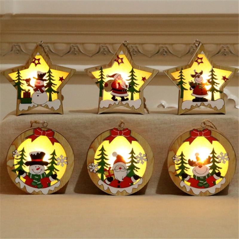 Wood Christmas Tree Hanging Luminous Pendant Santa Claus Xmas Home Decoration Ornament Star LED Night Light Craft For Kids Gift