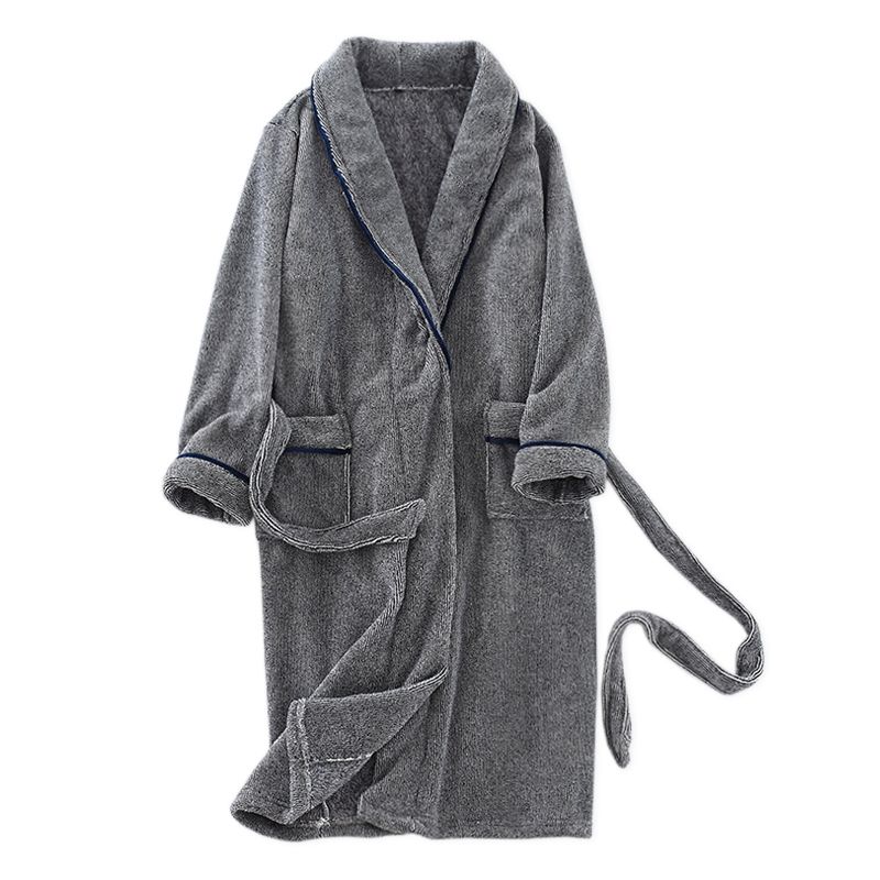 Plus Size Winter Warm Korean Coral Velvet Bathrobes Men Sleepwear Robes Thicken Flannel Elegant Robes Male Dressing Gown