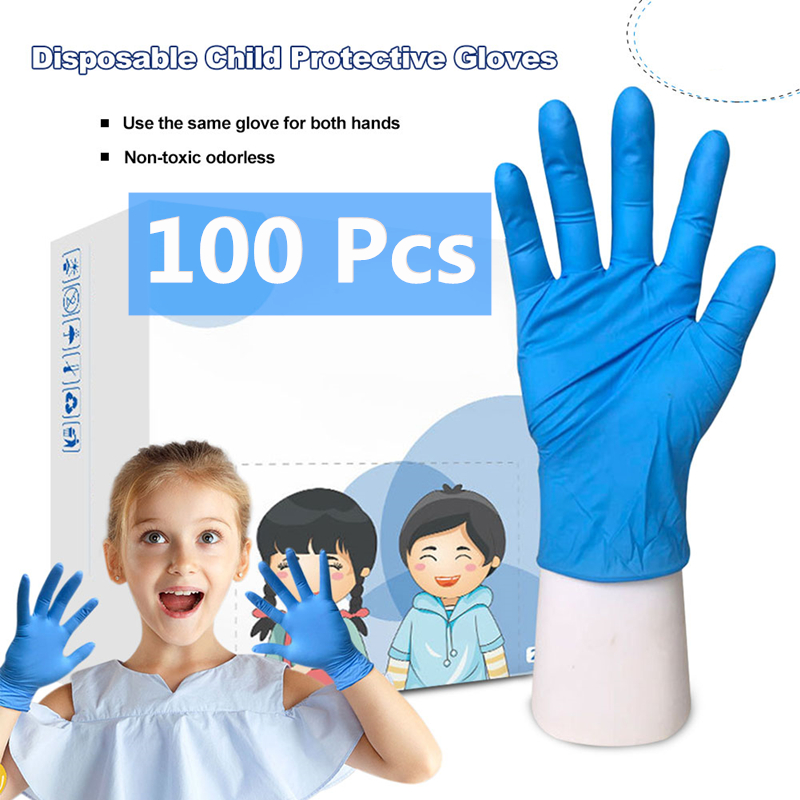 100 Pcs/lot Kids Disposable Latex Nitrile Gloves For Home Cleaning/food/rubber/garden Gloves Universal For Left And Right Hand