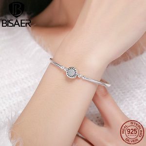 Image 1 - Classic 2019 New 925 Sterling Silver Bright Heart Round Snake Clasp Bracelets Basic Silver Charms Bracelet Women DIY Jewelry