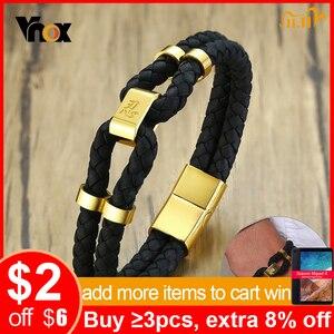 Image 1 - Vnox pulsera de cuero negro con broche de acero inoxidable para hombre, brazalete de piel auténtica, estilo chino, informal