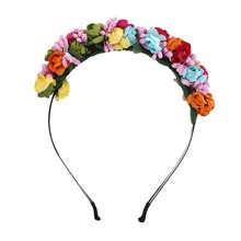 Simulation Flower Wreath Headband Girl Head Festival Wedding Ribbon Adjustable Crown