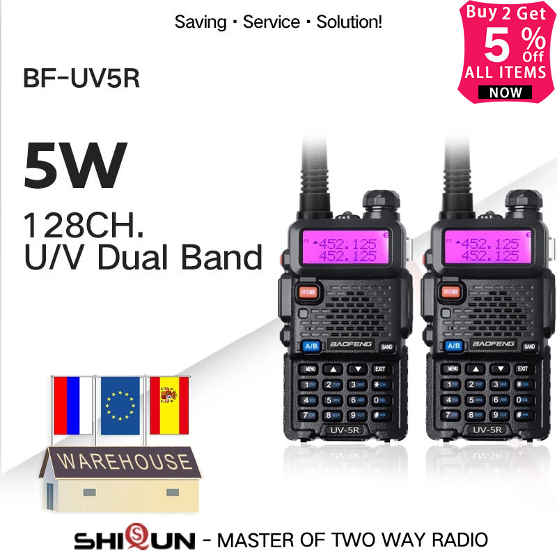2PCS Baofeng BF-UV5R Amateur Radio Portable Walkie Talkie Pofung UV-5R 5W VHF/UHF Radio Dual Band Two Way Radio UV 5r CB Radio