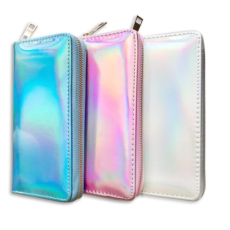 New Women Wallet Long Purse Laser Holographic Wallet Women Clutch Bag Female Portfel Zip Phone Pocket Card Holder Cartera Mujer