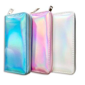 New Women Wallet Long Purse Laser Holographic Clutch Bag Female Portfel Zip Phone Pocket Card Holder Cartera Mujer