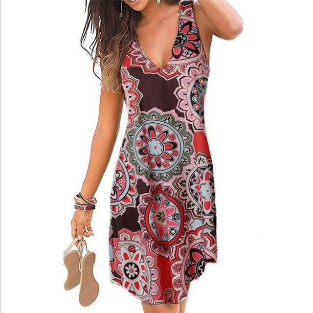 4XL 5XL Plus Size Dresses Women 2021 Sexy Summer Beach Short Dress Casual Sleeveless Deep V-Neck Ladies Folk Floral Print Dress 3