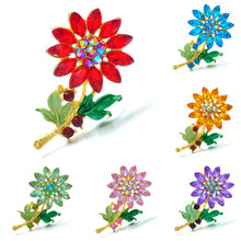 Cute Fashion Daisy Brooches For Women Flower Jewelry Rhinestone Elegant Winter Design Badge High Quality Sunflower Lapel Pins