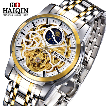 HAIQIN Luxury Watch Men watches 2020 luxury Brand watch men automatic Mechanical wristwatch mens Gold Tourbillon reloj hombre