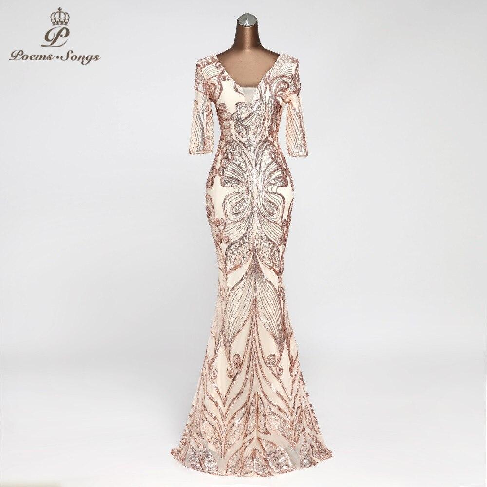 Beautiful Shiny Evening Dress Half-sleeve Vestido De Festa Butterfly Style Long Evening Gown Formal Dress Robe De Soiree Elegant