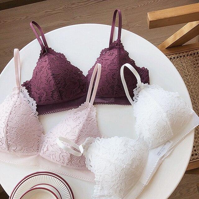 5 색 삼각형 컵 와이어 무료 편안한 레이스 섹시한 여성 bralette 세트 얇은 작은 잠옷 여성 속옷 브래지어와 팬티