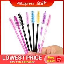 50 Pcs/Set Six Colors Disposable Mascara Wands Mini Lashes Brushes Mascara Applicator  Micro Spoolie Brushes for Eye Lash