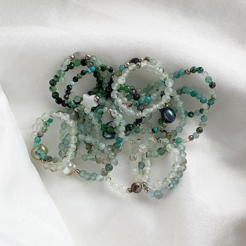 Boêmio natural pedra grânulo anéis para mulheres multi cor artesanal moda jóias presentes elástico ajustável anel de festa de casamento