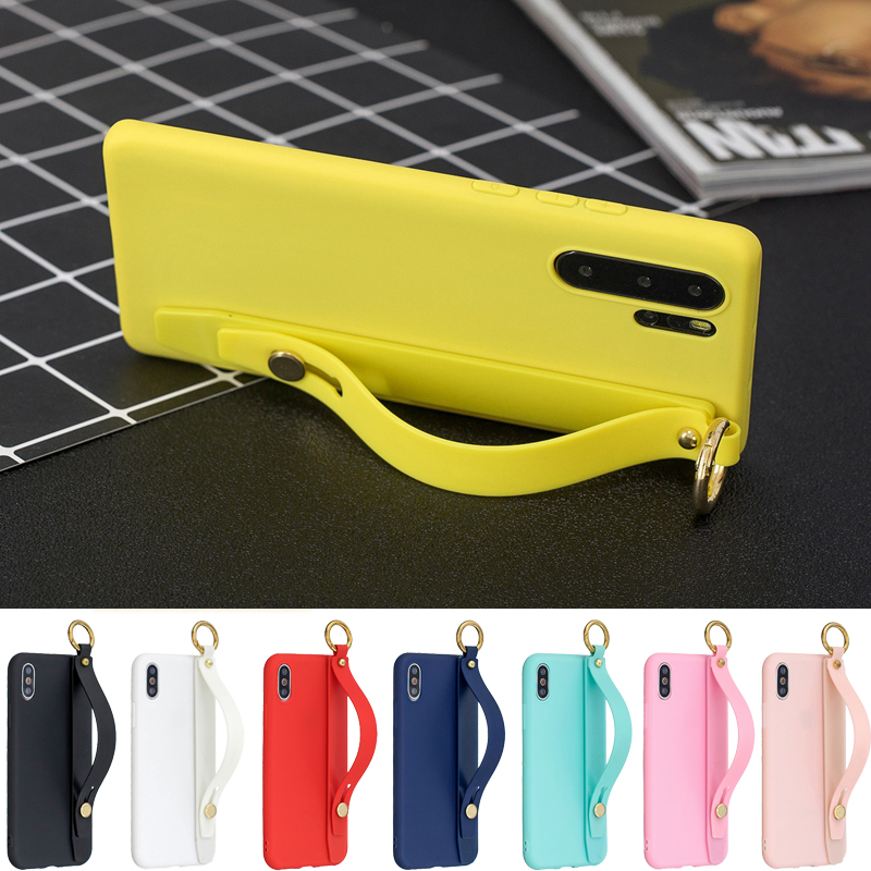 Candy Wrist Strap Hand Band Silicone Case For Samsung Galaxy Note 8 Note9 Stand Ring Cover For Samsung Note10 Note 10 Plus Case