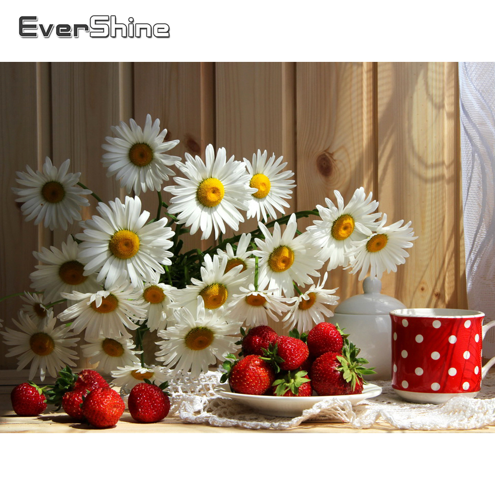 Evershine Diamond Painting Flowers Rhinestone Mosaic Diamond Embroidery Daisy Flower Cross Stitch Mosaic Diamond Home Decoration-0