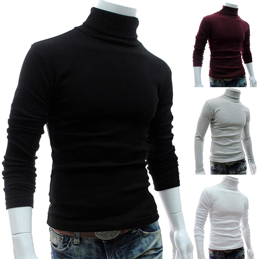 Men Fashion Solid Color Long Sleeve Turtleneck Sweater S-lim And Fits Knitted Pullover