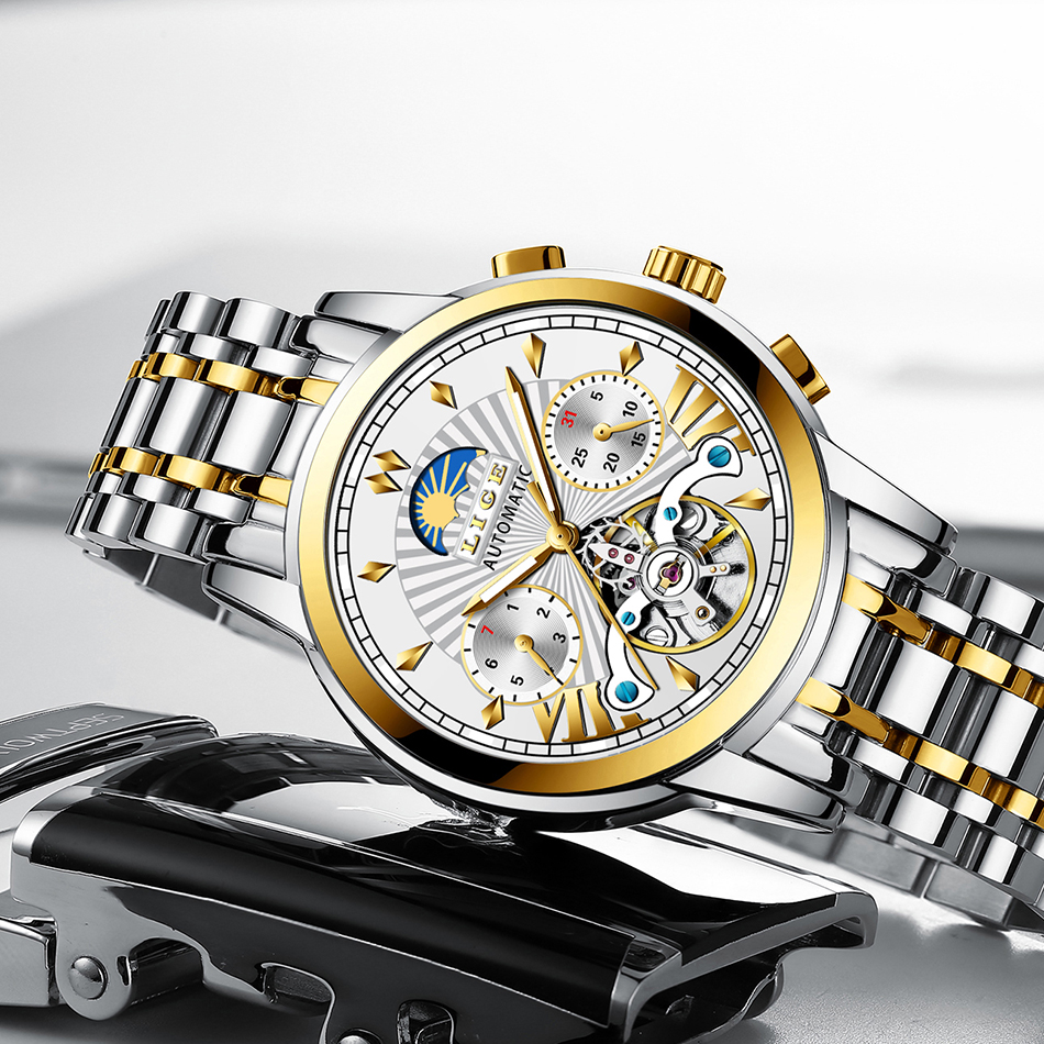 Reloj hombres LIGE Men's watches mechanical Mens Watches top brand luxury automatic watch men gold wirstwatch male Tourbillon