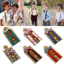 Комплект с подтяжками и галстуком-бабочкой, однотонный Детский комплект с ремнем и галстуком-бабочкой, для маленьких мальчиков, с застежкой на Y-Back, эластичный галстук-бабочка,# 3F