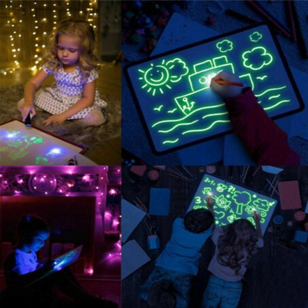 Light Drawing Pad Kids Luminescent Drawing Board Glowing Magic Graffiti Painting Fluorescent PenEducational Toy