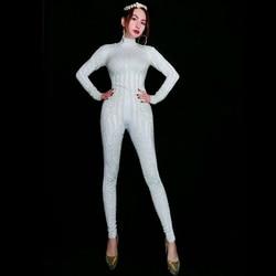 Модный облегающий комбинезон с белыми жемчужинами, Стрейчевые леггинсы, Женская сексуальная одежда для ночного клуба и вечеринок, женский ...