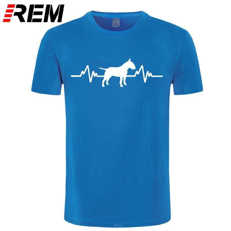 Divertente Battito Cardiaco Inglese Bull Terrier Dog T Shirt Da Uomo Su Misura Modello In Cotone Manica Corta Uomo Scherzo Regalo T-Shirt Casual