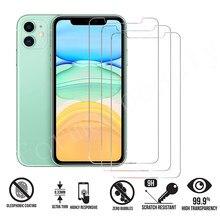 3 peças de vidro protetor de proteção para iphone 12 11 mini pro max protetor de tela vidro temperado para iphone 6 s 7 8 plus x xr xs max vidro