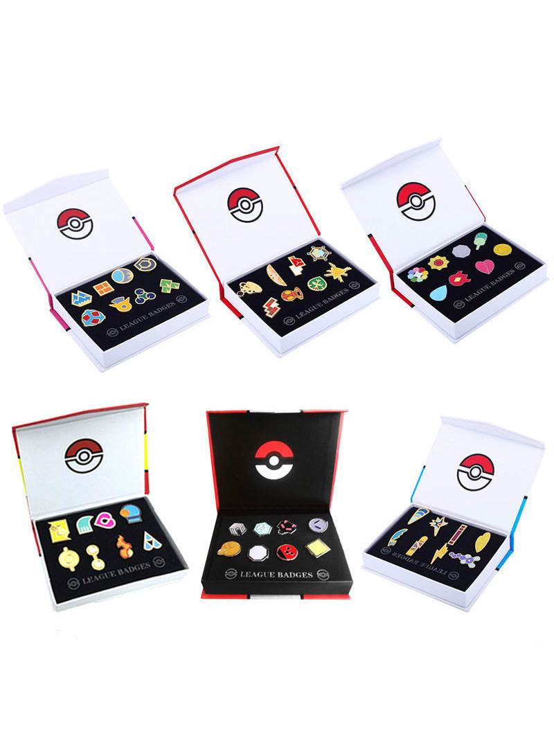 Brooches Badges Kanto Region-Pins Pocket-Monster Hoenn Sinnoh Collection Poke Gym Unova