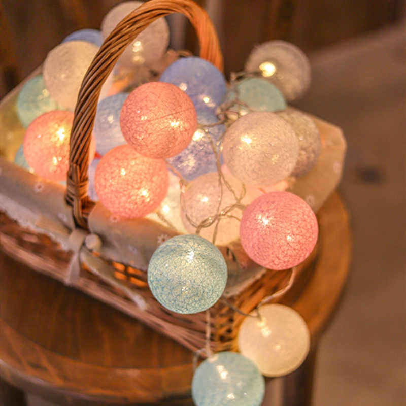 Macaron Fairy Lights Indoor LED String Lights Battery Cotton Ball Garland Lamp Christmas String Light For Party Wedding Decor