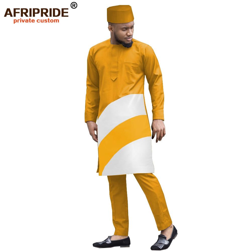2019 African Mens Suits Solid Dashiki Tops Coats Jackets +ankara Pants +hat 3 Pieces Set Print Bazin Riche AFRIPRIDE A1916004